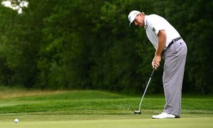 South Africa's Ernie Els puts the ball d